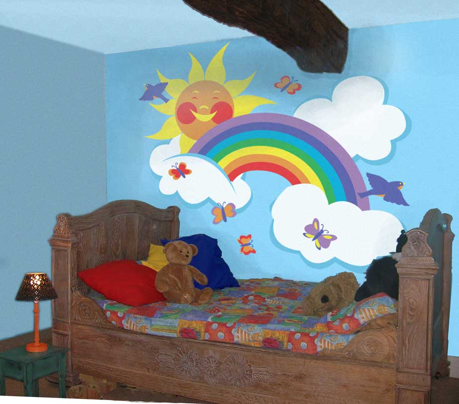 Wall painting for kids bedroom interior designing ideas for Rainbow kids room