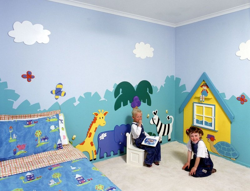 Wall painting for kids bedroom interior designing ideas for Child mural wallpaper