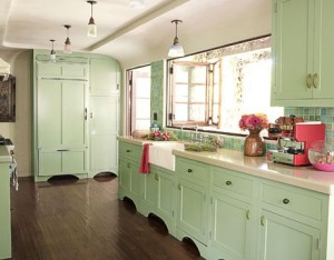 light green color kitchen