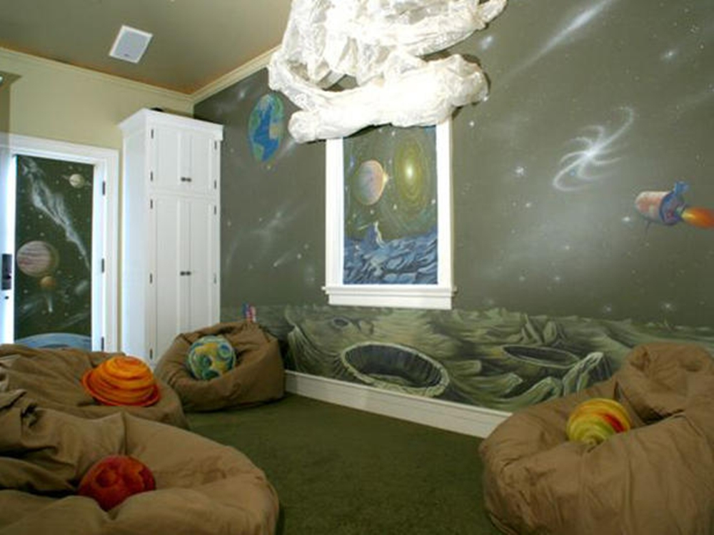 Underwater bedroom theme for kids interior designing ideas for Outer space bedroom design