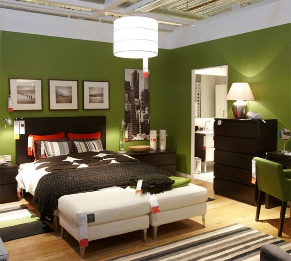 How to make the bright wall color neutral interior for Bright green bedroom ideas