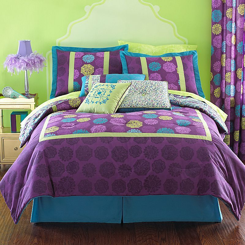 Purple and green bedding for bedroom interior designing - Green and purple comforter ...