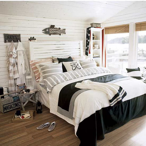 Beach theme bedding interior designing ideas for Bedroom ideas nautical