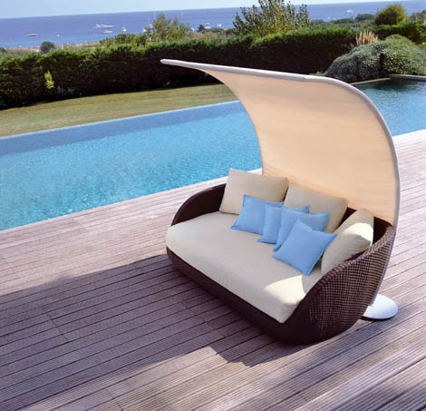 rattan furniture on pool
