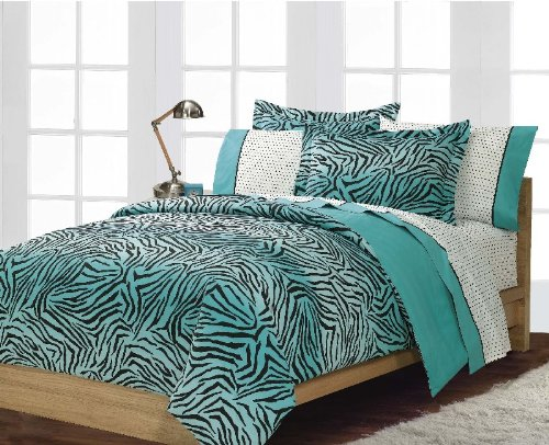 Blue-Zebra-Print-Bedroom-Ideas