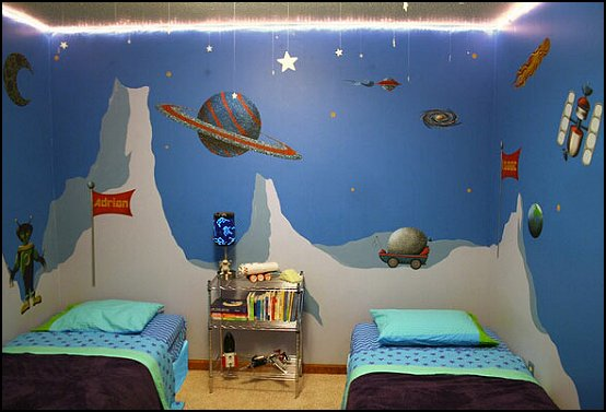 Outer space themed bedroom the new way of life interior for Outer space decor ideas