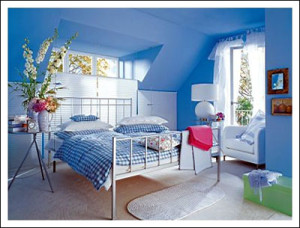 Blue-Bedroom-Ideas-for-Teenage-Girls-Hanging-Flower