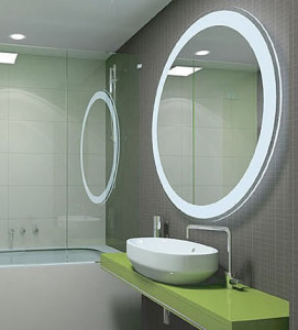 Contemporary round bathroom mirror with lighting design