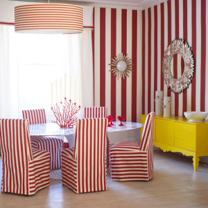 10-quirky-red-white-stripe-dining-room-yellow-sideboard-round-mirror-drum-shade