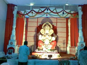 Decorations in pandal during ganesh chaturthi