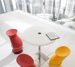 Yellow-Red-Home-Bar-Stools-White-Floor-White-Round-Table-Glass-Wall