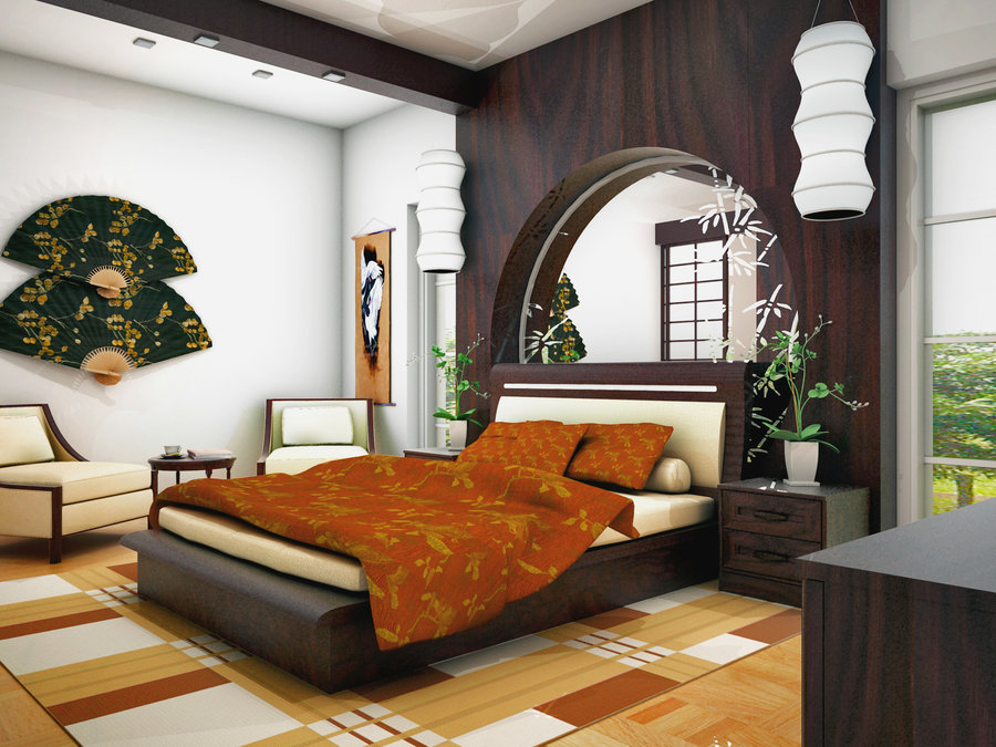 Zen bedroom orange bedspread
