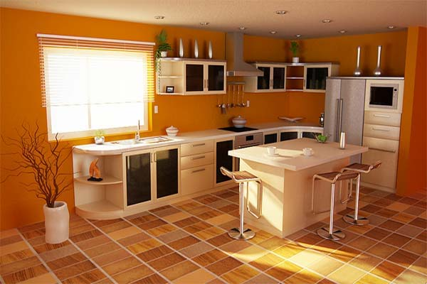 Orange Style Kitchen For Long Lasting Impression Interior Designing Ideas: design colors for kitchen