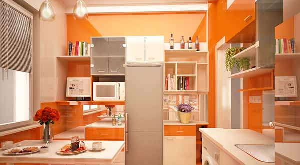 Orange style kitchen for long lasting impression interior designing ideas Interior design kitchen paint colors
