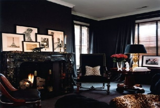 How to convert home into victorian gothic home interior for Black wall room ideas