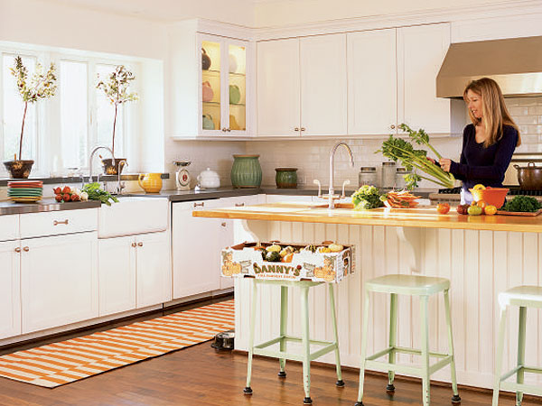 orange striped rug kitchen sunset magazine