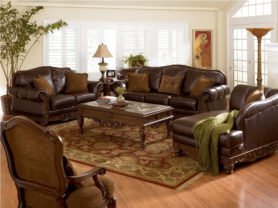 antique-brown-leather-sofa-set