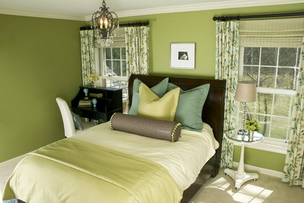 to decorate bedroom with green colour interior designing ideas