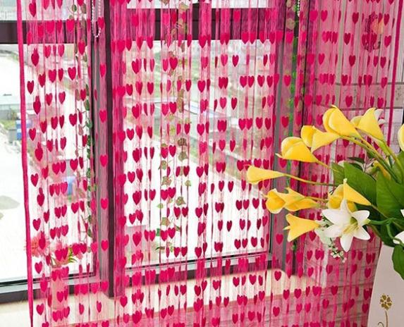 Hot-New-font-b-Purple-b-font-300-300cm-Polyester-Fiber-Love-Heart-String-Curtain-Home