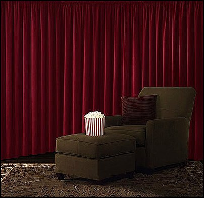 Velvet Blackout Curtains-home theatre curtains-decorating home cinema hollywood style
