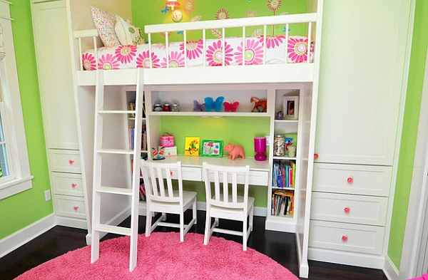 Space-saving-loft-bed-idea-with-desk-for-girls-bedroom