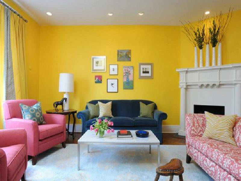 Yellow Living Room Bedroom Walls With