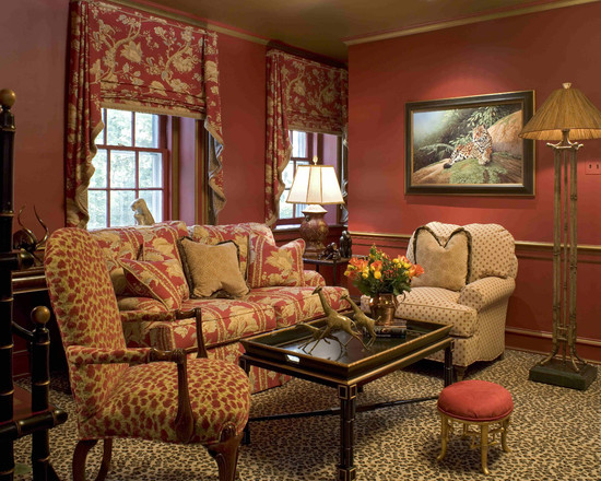 Awesome-flat-valance-with-jabots-on-maroon-wall-paint-in-classic-living-room-with-floral-upholstered-sofa-on-leopard-print-rug