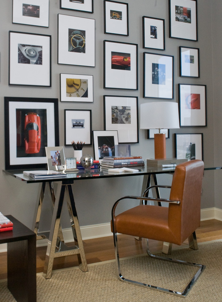 Incredible-Modern-Frames-For-Photos-Ideas-in-Home-Office-Transitional-design-ideas-with-artwork-black-frames-brown-leather-chair-cantilever