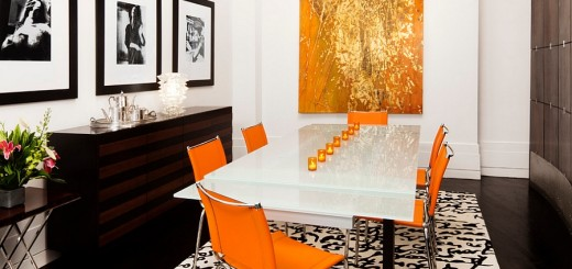 Posh-dining-room-in-orange-black-and-a-hint-of-gold