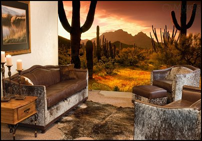 desert wall murals-Wyoming Livingroom furniture-southwestern style furniture-desert wild animal  themed