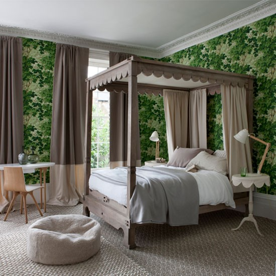 How to warm up your house for new year interior for Green bedroom wallpaper