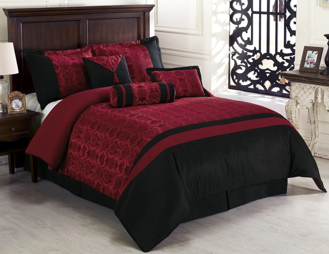 Black and red bedroom set - What Color Walls Will Complement Black Bed Red Curtains Marvellous Pieces Oriental Dynasty Black Red Jacquard
