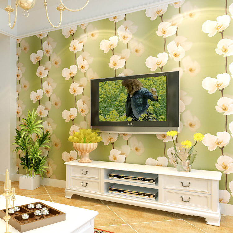 Delicieux Sunshine Home Decoration Wallpaper Modern 3d Wallpaper Murals TV  Backdrop Decor Korean Green Flower Entrance