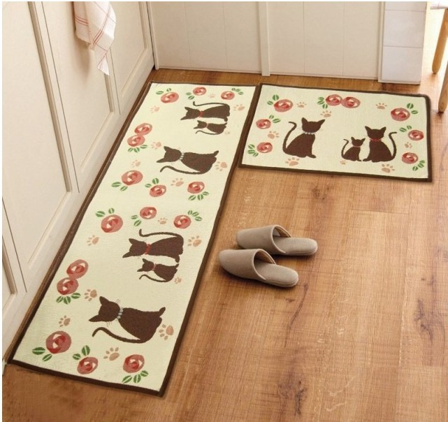 Zakka-cat-rug-retro-home-decor-tapetes-de-cozinha-gatos-bedside-doormat-carpet-slip-resistant-mats