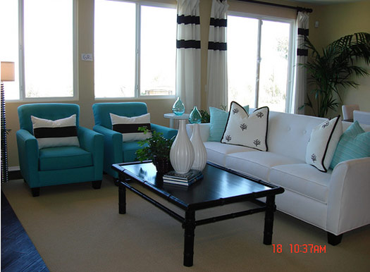 Turquoise interior design interior designing ideas for White and aqua living room