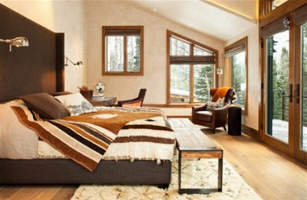 Modern-Bedroom-With-Natural-Elements-On-Mountain-Cottage-With-Vintage-And-Contemporary-Interiors