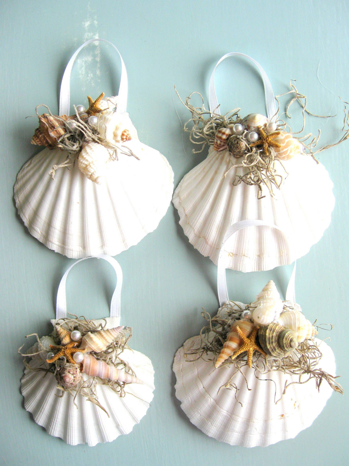 Christmas seashell ornaments interior designing ideas for Ornament ideas