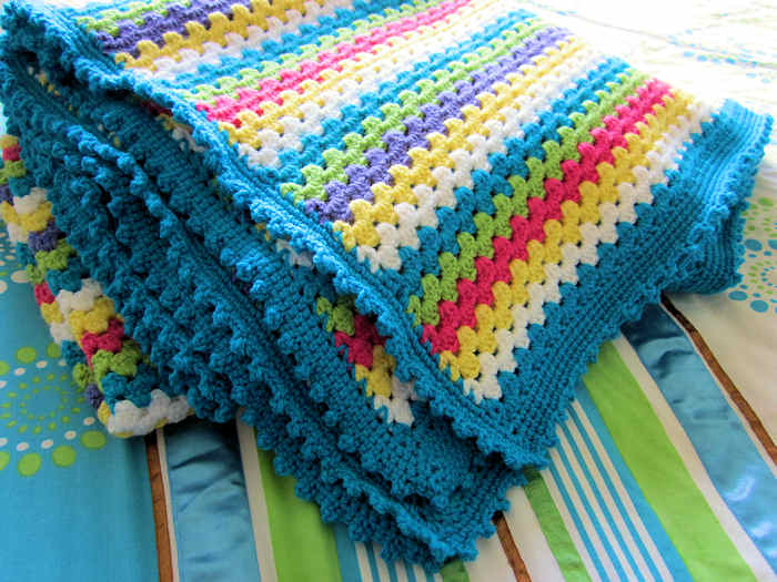 Granny stripe throw finished 1