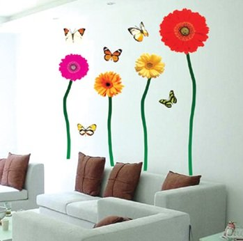 -funlife-TC905-20pcs-lot-Colorful-Flowers-butterflies-Adhesive-DIY-Wall-Art-Decals-Wall-Sticker-For