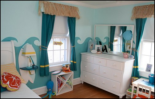 How to decorate summer theme bedroom interior designing - Beach themed room decor ...