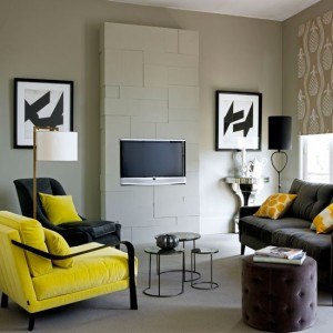 White-yellow-and-black-living-room-with-built-in-wall-mounted-television