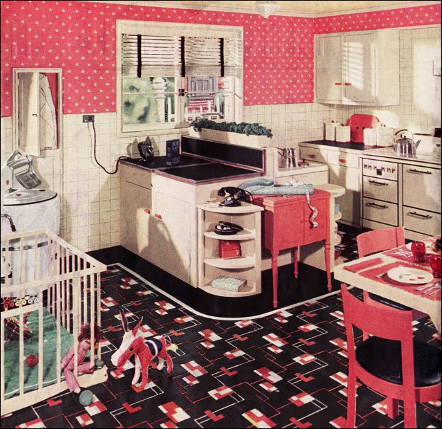 How to d cor kitchen in a retro fashion interior for Kitchen set 06