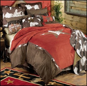 Cowhide Star Bedding-cowboy bedroom-cowboy bedding-western theme decorating ideas cowboy theme bedrooms