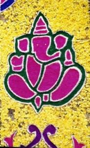 Ganesh in a floral Rangoli