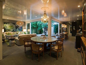 high gloss ceiling casa sugar living room dining room glam eclectic