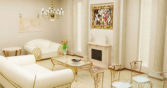 Classic Living Room With Gold Picture Frame And