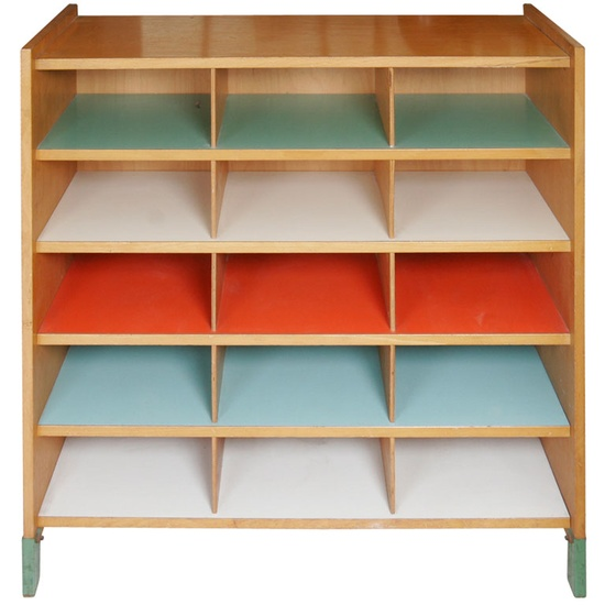 Italy_-Beech-and-multicolor-Formica-shelving-unit_-1950s_-h100w100d40