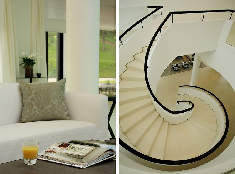 Elegant Villa Phuket Interior in Staircase Design with White and Beige Color Decor in Circular Shaped and White Sofa Furniture for Home Inspiration to Your House
