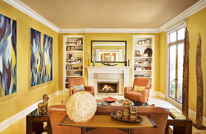 Living Room In Yellow Color Paint