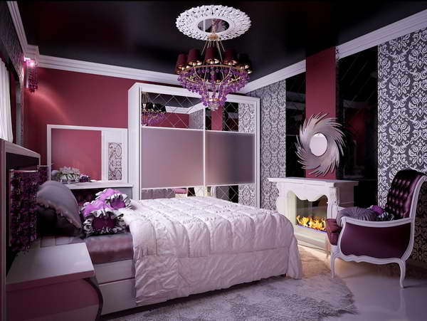 Elegant-Teenage-Bedroom-Design-with-Luxury-Chandelier-and-Maroon-Wall-Color-also-Classy-Chair
